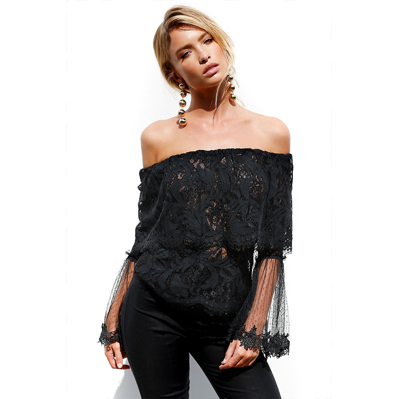 2d129ec6d4574 Off Shoulder Lace Blouse Women New Summer Folder Sheer Smocked Flare  Sleeves See Through Tops Punk Ladies Crop Top Tunic Shirts-in Blouses    Shirts from ...