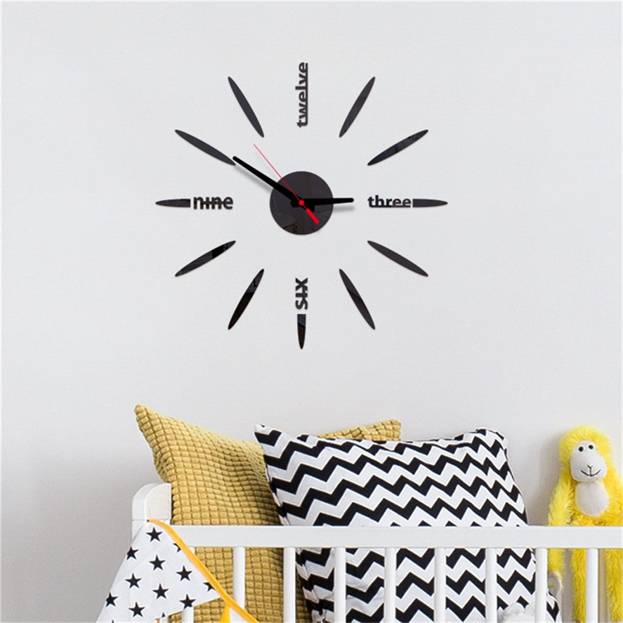 2019 New Modern Mirror Wall Clock Sticker 1PC 3D DIY Roman Numbers Acrylic Mirror Wall Sticker Clock Home Decor Clocks 0305#30
