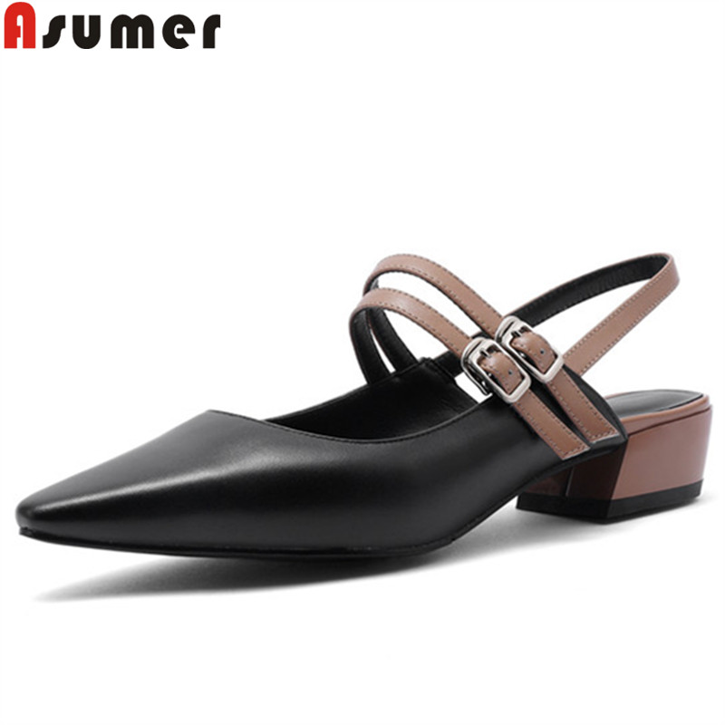 ASUMER 2019 spring new shoes woman casual genuine leather shoes women slingback pumps women shoes buckle low heels shoes women ASUMER 2019 spring new shoes woman casual genuine leather shoes women slingback pumps women shoes buckle low heels shoes women