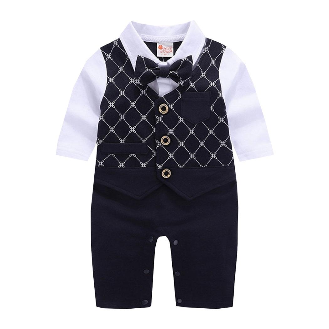 Baby Boy One Piece Black Formal Cotton Romper w// BowTie Tuxedo Outfit size 0