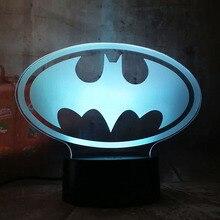 New 2019 Justice League 3D LED DC Batman Symbol Light Night Desk Table Lamp 7 Color Change USB RGB Controler Toy Kids Gift