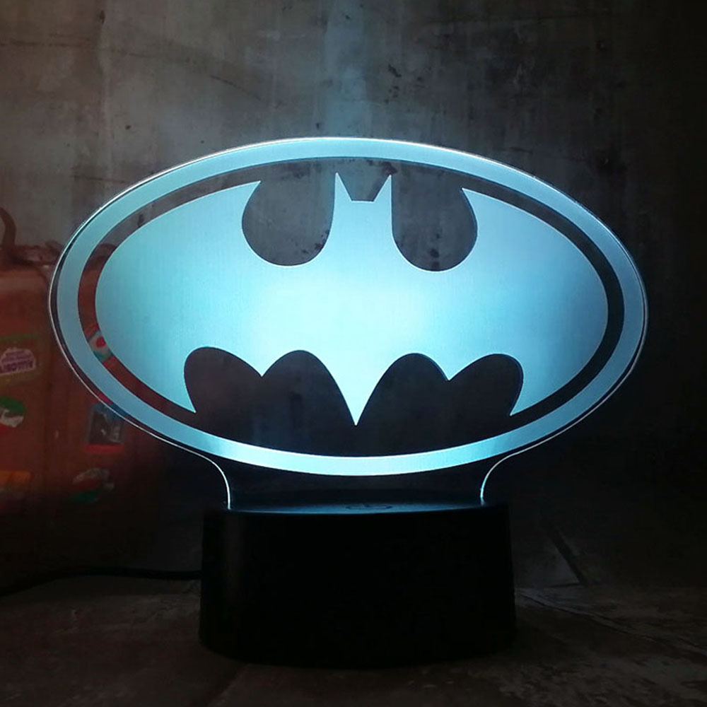 New Cool Justice League 3D LED DC Batman Symbol Light Night 7 Color Change USB RGB Desk Table Lamp Kids Toys Christmas Gift