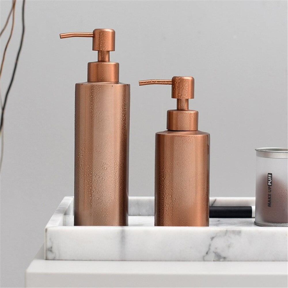 250ml 350ml 550ml Bad Shampoo Metall Lagerung Flasche Nordic Chic Flüssigkeit Lotion Sub-flasche Elegante Vogue reise Rose Gold Flasche