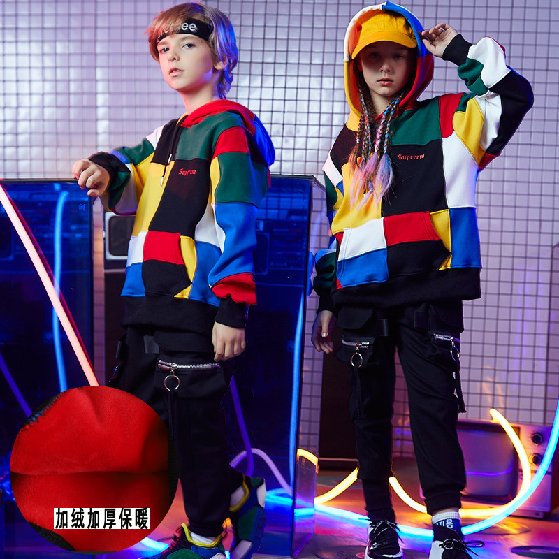 Kids Performance Clothes Hip-Hop Suits Dancing Clothes Stage Wear Sets Plus Velvet Thickened HOODIES Kids Hoodies StreetwearKids Performance Clothes Hip-Hop Suits Dancing Clothes Stage Wear Sets Plus Velvet Thickened HOODIES Kids Hoodies Streetwear
