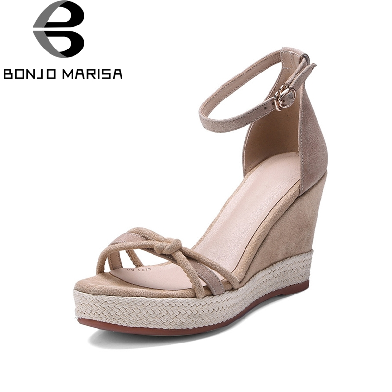 BONJOMARISA New women's Ankle Strap Wedges Kid Suede High Heels Solid Platform Shoes Woman Casual Summer Sandals Size 34-39 ribetrini women hot sale cow leather low heel wedges summer casual shoes woman ankle strap open toe platform sandals size 34 39