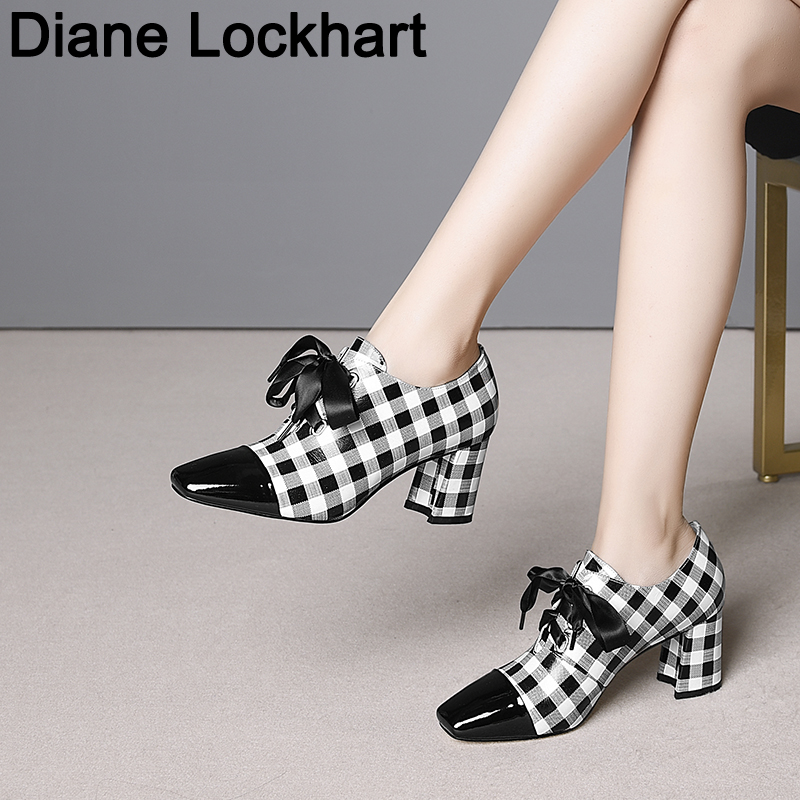 New 2019 Spring Plaid High Heels Women Pumps Lace Up Square Toe Footwear Cow Leather Ladies