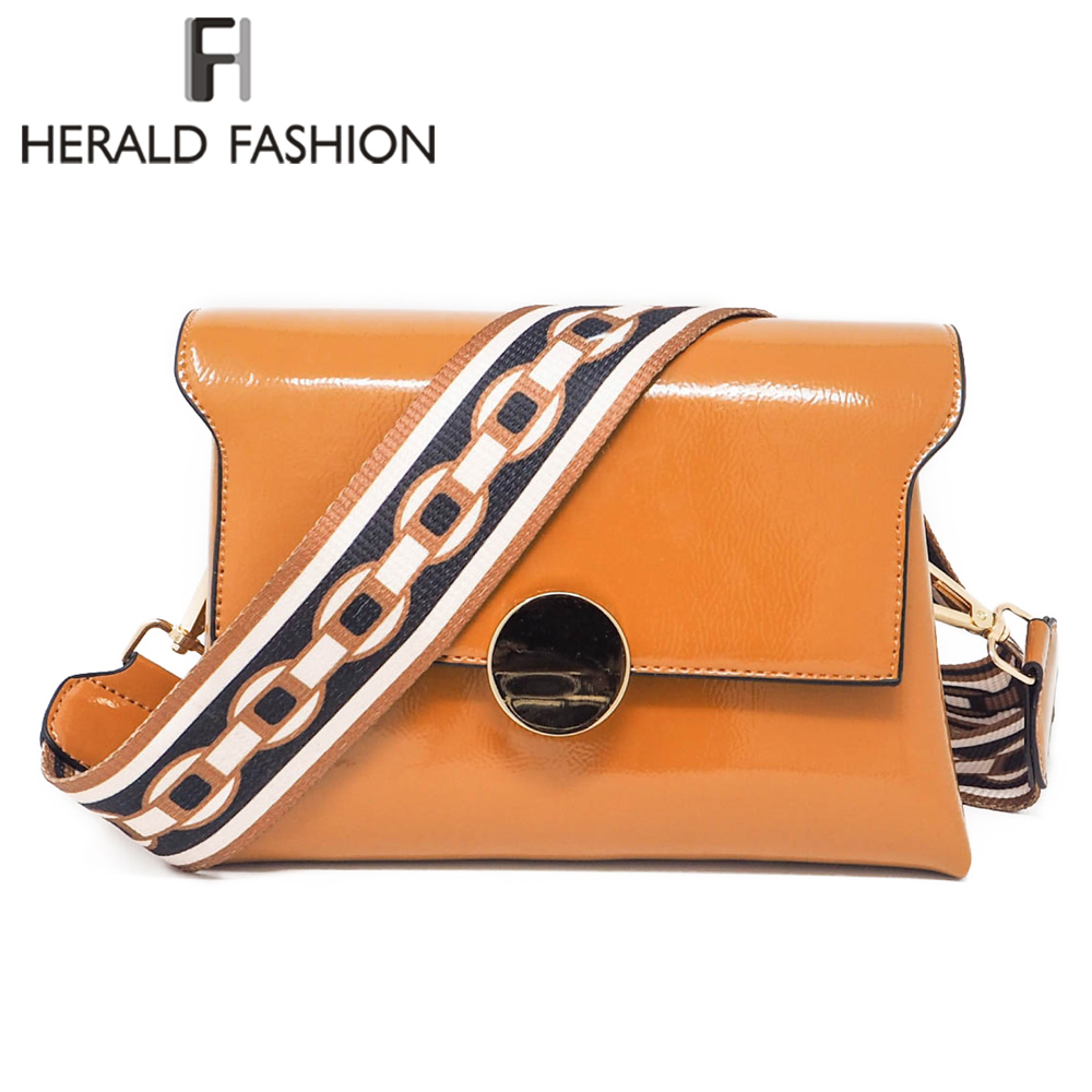 Herald Fashion Wide Strap Women Messenger Bag Quality Patent Leather Female Shoulder Bag Causal Flap Bag Ladys Crossbody Bag