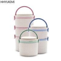 HHYUKIMI Ambientalmente Amigável Biodegradável Palha de Trigo Caixa de Isolamento Lancheira Decoração Rodada Multilayer Combinação Selo Fresco