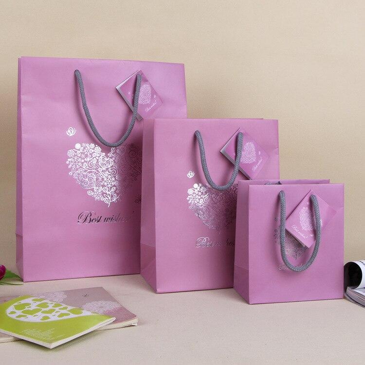 Love heart pink paper bag best wishes valentines gift bag - Bolsas de regalo personalizadas ...