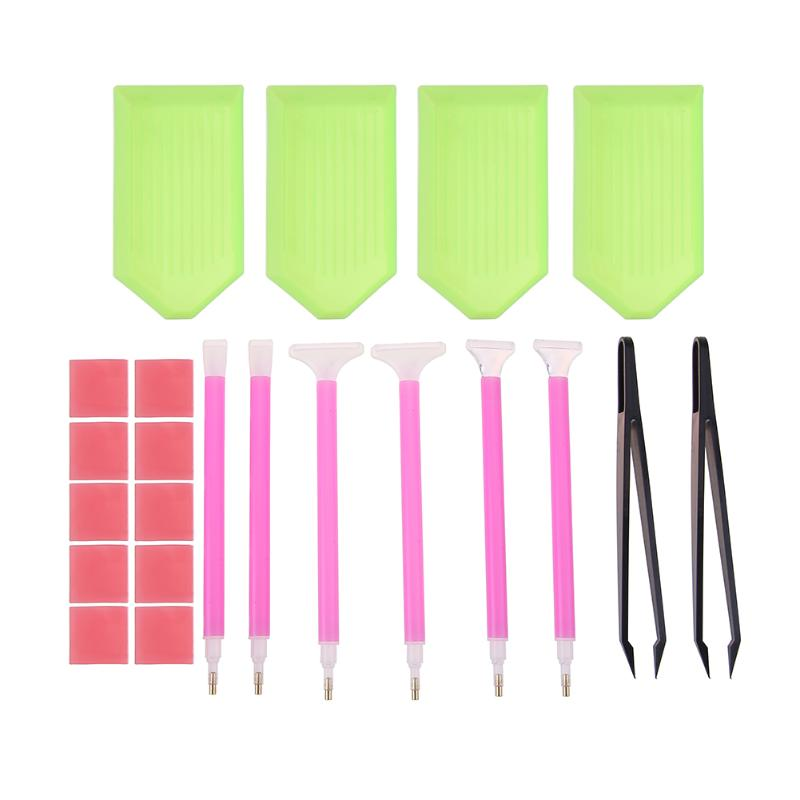 DIY Diamond Painting Accessories 5D Diamond Painting Cross Stitch Embroidery Pen Tools Set Mosaic Glue Pen Kit Tweezers