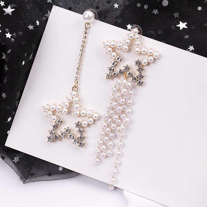 Dominated New Asymmetric Pearl Pentagonal Fringed Earrings Personality Exaggerated Crystal Women Drop earrings Jewelry