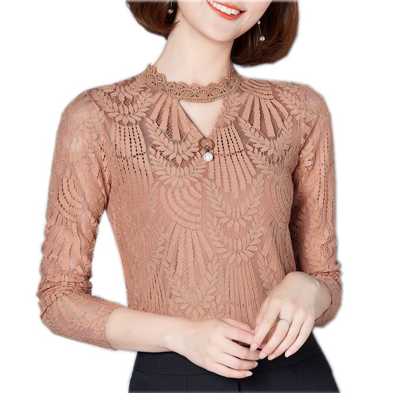 2018 Autumn Winter Women Lace Blouse Long Sleeve Fashion Blouses and Shirts Crochet Blusas Casual Female Clothing Plus Size 3XL
