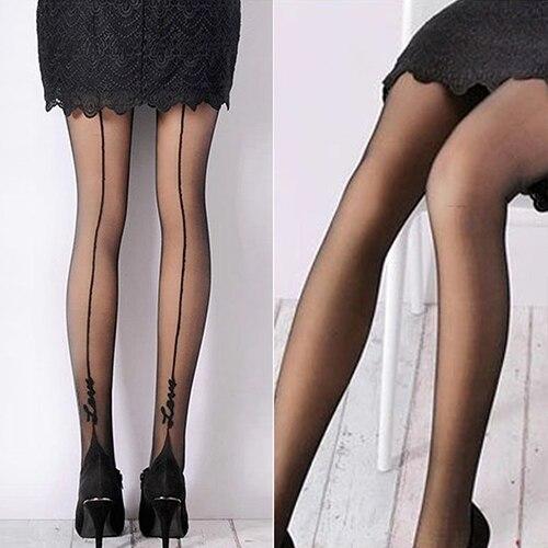 Women Sexy English Love Letter Tattoo Jacquard Leggings Tights Pantyhose Stockings