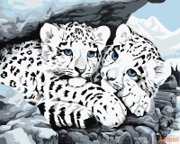 Two Leopard Babies Lie In The Hole Framed Picture Painting By Numbers Home Decor DIY Animal