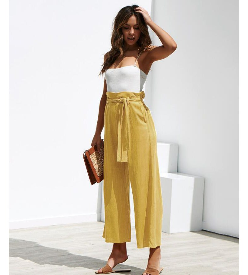 2019 Fashion Women Belt Palazzo   Pants   Solid Drawstring   Wide     Leg     Pants   Sashes Streetwear High Waist Loose Trousers
