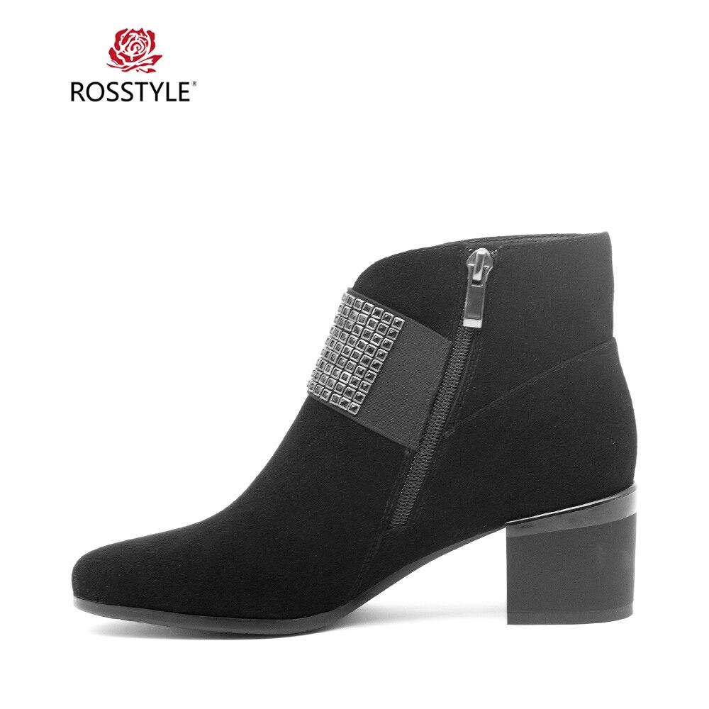 Chaussures Rouge Qualité Haute Bottine Boot Pointu Talon Mince Bout Cuir Véritable Classique Rosstyle Sexy Femme Haut En Black Mature Élégant B94 qwUI6g