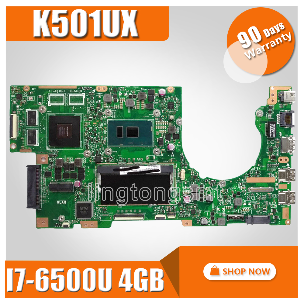 Akemy K501UX carte mère d'ordinateur portable pour ASUS K501UX K501UB K501U K501 Teste carte mère originale DDR3 4g RAM I7-6500U GTX950M EDP