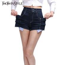 Twotwinstyle высокая талия джинсовые шорты для женщин джинсы рябить добычу мини сексуальные брюки hotpant Лето Мода 2017 г. больших размеров(China (Mainland))