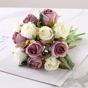 Image 5 - 12 PCS/Lots מלאכותי עלה פרחי חתונה זר משי רוז פרחי בית תפאורה מסיבת חתונת קישוט מזויף פרח