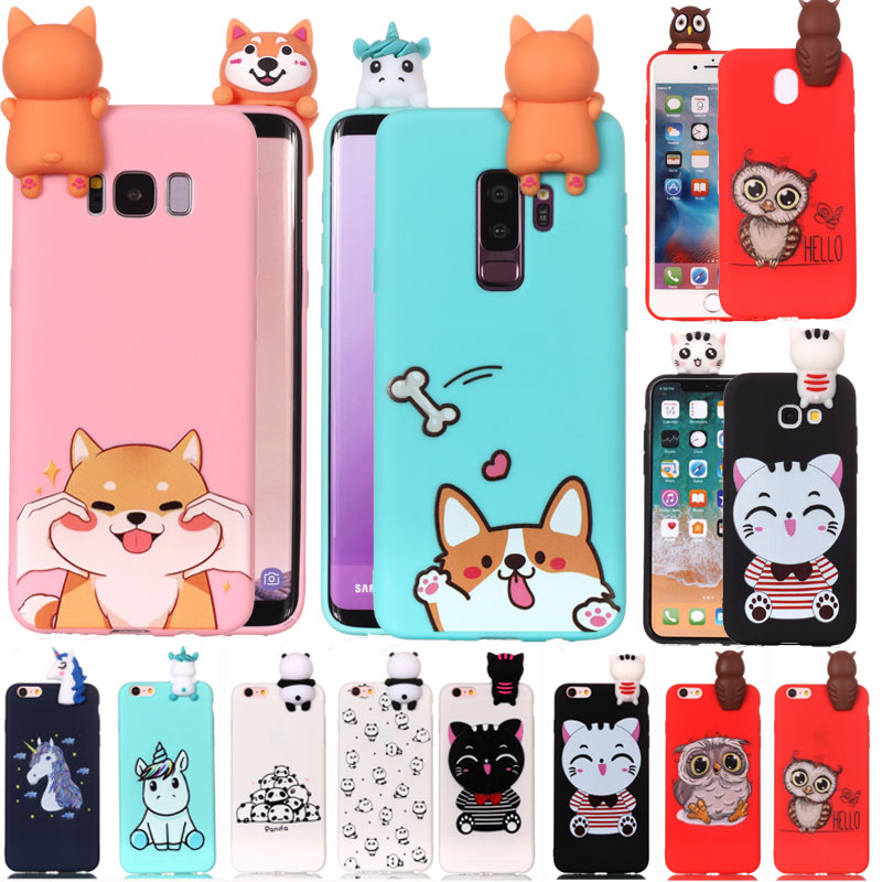 Galleria fotografica 3D Cartoon Cat dog panda Soft Silicone Case For Samsung Galaxy S7 edge S8 S9 Plus Note 8 A3 A320 A5 A520 2017 J3 J5 J7 2016 J510