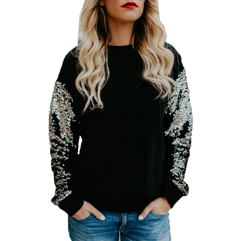 2018 Solid Color New Fashion Women hoodies Casual O-Neck Sequined Long Sleeve sweatshirt Stitching Tops Casual Polyester hoodie