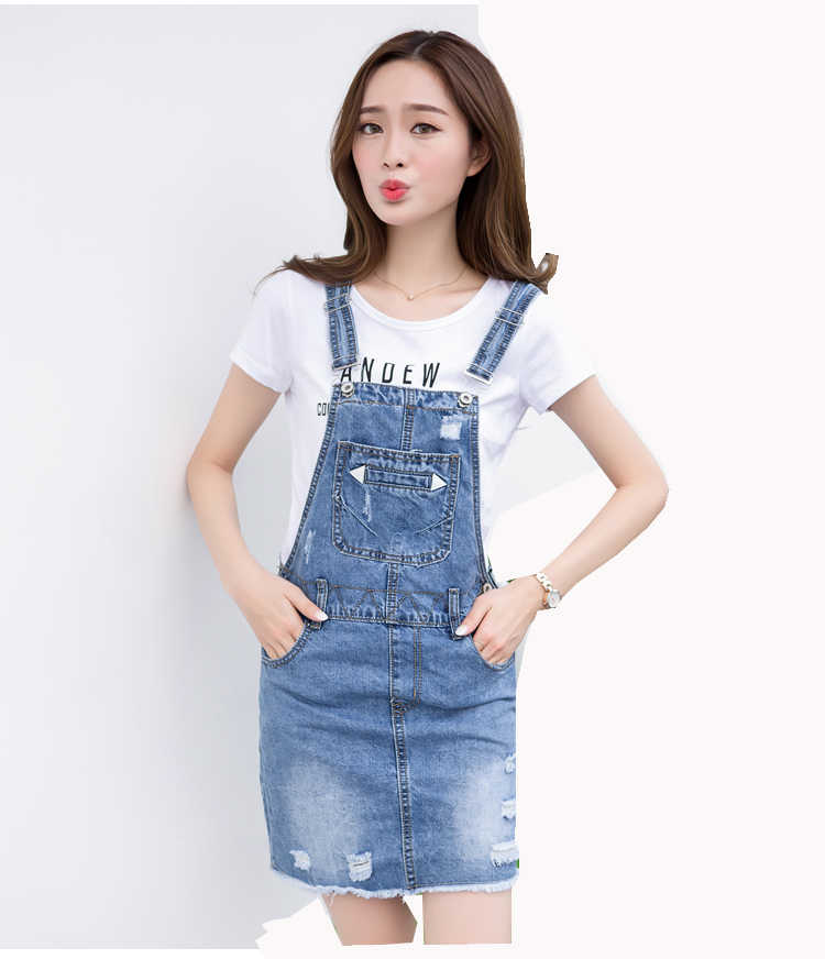 4d23962bca4 ... New 2018 Women s Summer Fashion Blue Denim Jeans Sundress Dress Female  Student Short Strap Overs Dresses ...