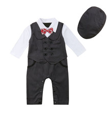 ab6546111fe8 Newborn Baby Boys Gentleman Formal Suit Romper Jumpsuit Hat Outfit Clothes  Long Sleeve Autumn Spring