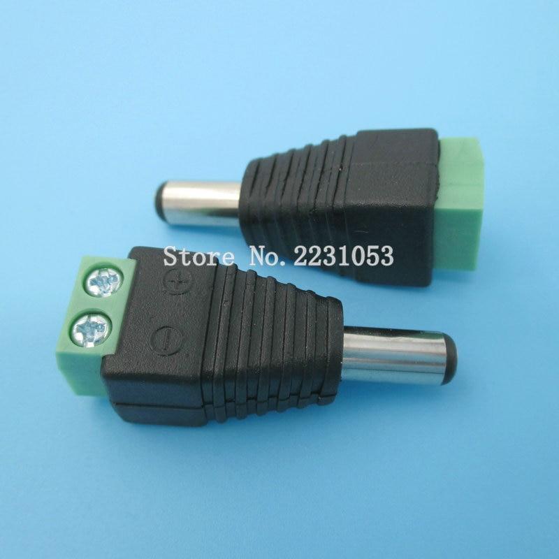 5PCS/LOT 2.1 x 5.5mm DC Power Male Plug Jack Adapter Connector Plug for CCTV DVR LED Strip Light
