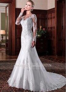Image 3 - Exquisite Tüll Jewel Ausschnitt Meerjungfrau Hochzeit Kleider Mit Perlen Spitze Applqiques Lange Ärmel Brautkleider