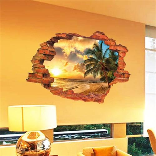 Бесплатная доставка: 3D сломанная стена закат морской пейзаж остров кокосовые деревья домашний декор может удалить наклейки на стену