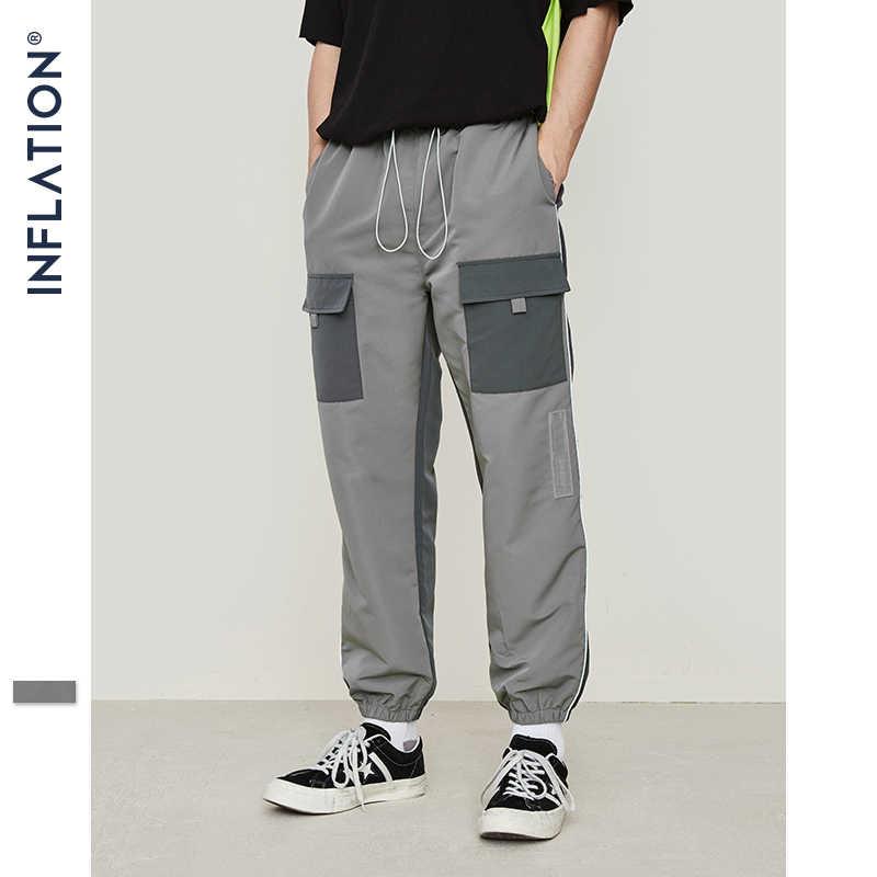 INFLATION 2019 мужские хип хоп уличные модные брюки-карго свободного покроя с большим количеством карманов Брюки мужские шаровары Jogger Брюки 9342 S