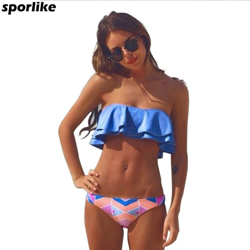 2017 Sexy Bandeau Bikinis Women Swimsuit Brazilian Bikini Set Beach Double Ruffle Bathing Suit Push Up Swimwear Biquini Swim bikini 2017 set push up women swimwear brazilian beach bathing suit sexy knitting hollow one piece swimsuit biquini bikinis