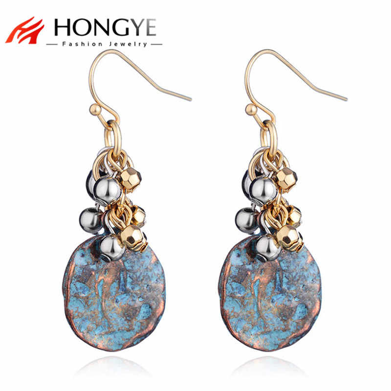 HONGYE Retro Jewelry Antique Copper Green Color Multiple Small Ball Tassel Round Drop Earrings Women Vintage Fashion Brincos