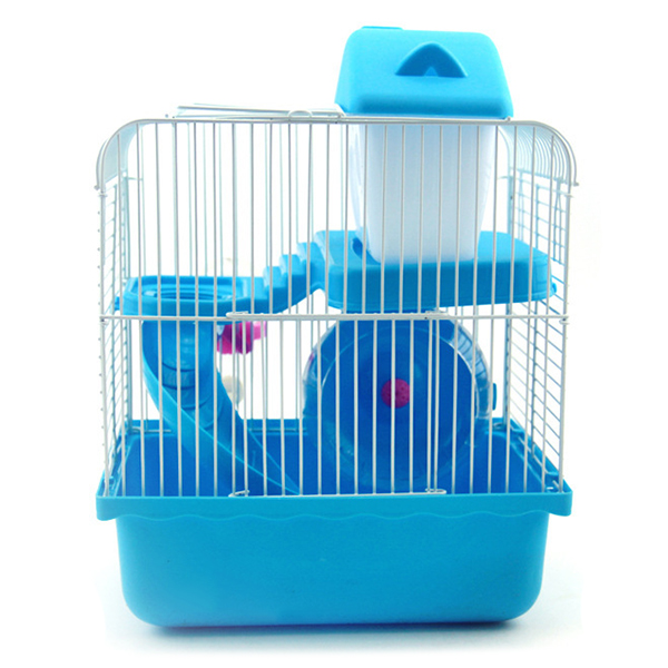 LHBL 2 Floors Storey Hamster Cage Mouse house with slide disk spinning bottle