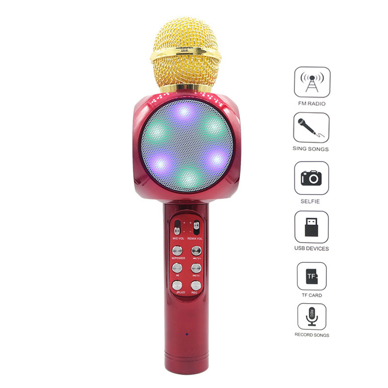 Ws1816 Wireless Led Bluetooth Microphone Music Audio Phone Speaker Mini Home Ktv Promote The Production Of Body Fluid And Saliva