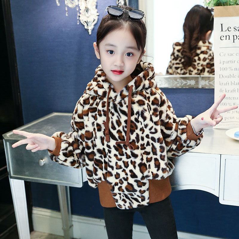 Girl Leopard print Jacket Children Thickness Coat Kids Autumn Winter Outerwear teenager Hooded Warm Coat