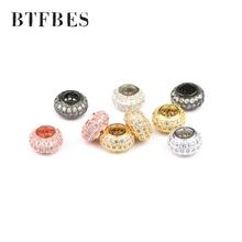 цена BTFBES 2pcs White CZ Flat Round Copper Spacer beads 8.5*5mm Pave Crystal metal Loose beads Jewelry bracelet Necklace making DIY онлайн в 2017 году
