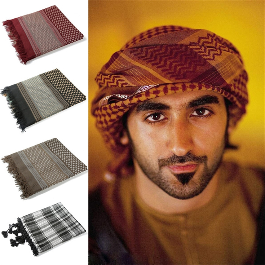Saudi Arabia Islamic Caps Men Hijabs Square 135*135CM Arab Turban Muslim Prayer Hats 7Color Cotton Scarf for Man Arabic Clothing