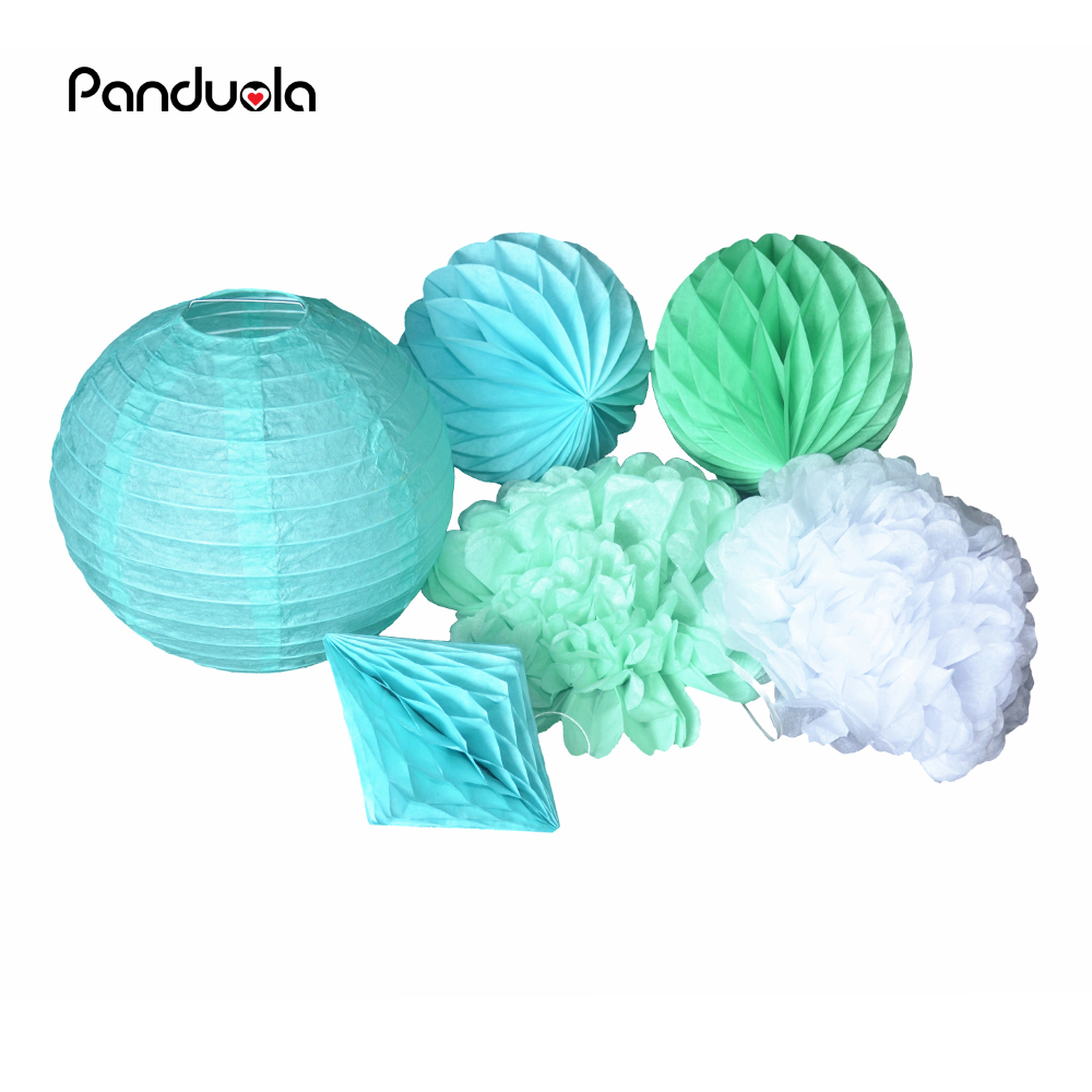 Mint Green DIY Tissue Paper Pom Poms Rose Flowers Ball For Wedding Holiday Birthday Party Decorations wedding decoration sets