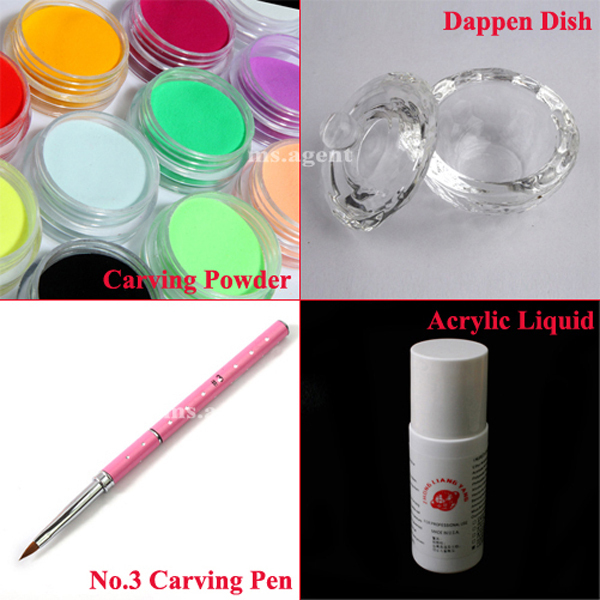 Nail Art Set 12 Colors Acrylic Powder Carving + Nail Art Brush Pen+Acrylic Liquid+Color Mixing Dappen Cup Dish Tool