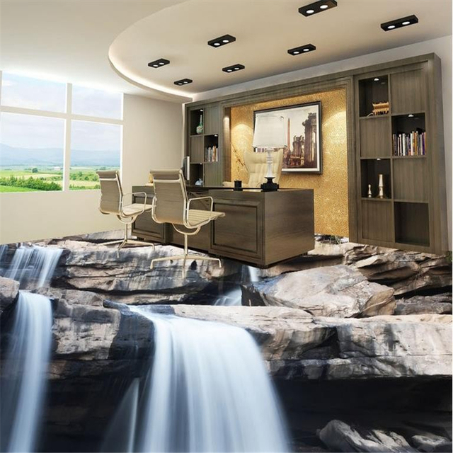 beibehang bodenfliesen wasserfall stein 3d boden fototapete vinyl b den. Black Bedroom Furniture Sets. Home Design Ideas