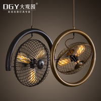 Industrial Wind Vintage Nordic Droplight Pub Study Creative Loft Wrought Iron Fan Pendant Lamp