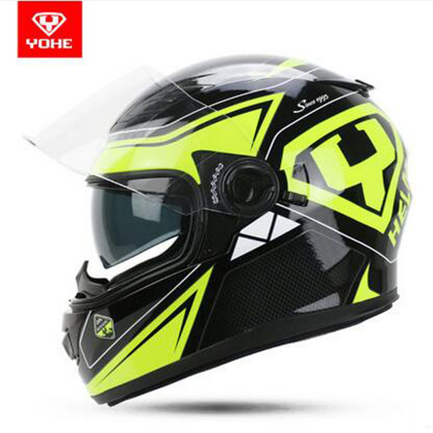 2017 New fashion YOHE Double lens motorbike helmet Four seasons Full face YH-970 Motorcycle helmet 2017 new yohe half face motorcycle helmet yh 868 abs motorbike helmet double lens electric bicycle helmets for four seasons