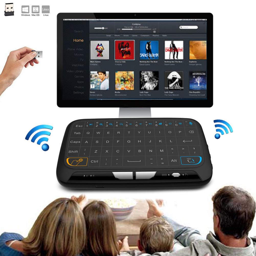M-H18 Pocket 2.4GHz Wireless Touchpad Keyboard With Full Mouse For Android TV Box Kodi HTPC IPTV PC PS3 Xbox 360 SGA998 image