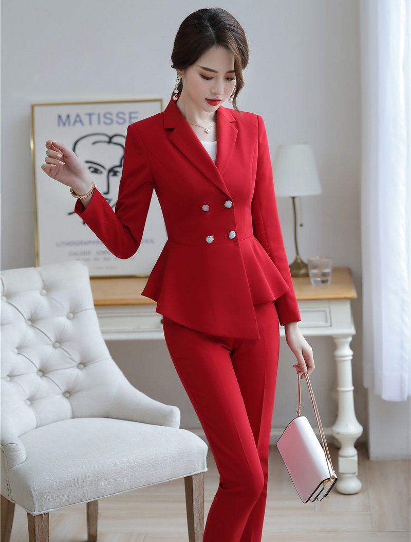 Formal Women Business Suits With Pencil Pants And Blazers Coat Ladies Office Work Wear Trousers Sets Pantsuits Autumn Winter