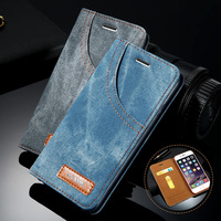 Front Pocket Denim Flip Cover For iPhone 6 / 6P / 6s / 6sP / 7 / 7P / 8 / 8P Jeans Case with Card Pocket For iPhone 4.7 5.5 inch