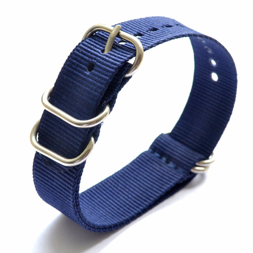 2017 18mm  20mm 22mm 24mm Nylon Watchband Strap Men Watch Band Solid color Zulu blue navy colors Straps