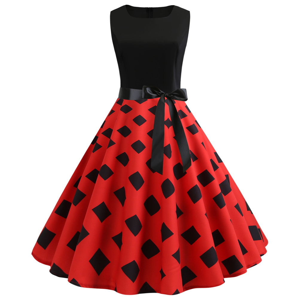 HTB1BAtXbtfvK1RjSszhq6AcGFXaF Women Summer Dresses 2019 Robe Vintage 1950s 60s Pin Up Big Swing Party Work Wear Rockabilly Dress Black Polka Dot Vestidos