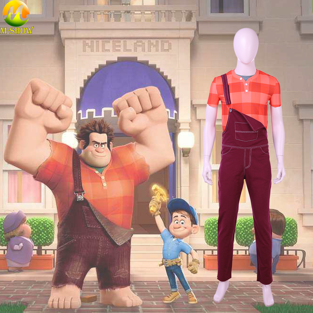 Ralph Cosplay Uniform Ralph Breaks the Internet: Wreck-It Ralph 2 Cosplay Costume T-shirt Pants Custom Made For Adult Men