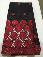 Fashion black african george lace fabric with nice red sequins flower french lace material for party dress OG39 4,5 yards/lot